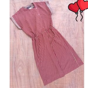 Vintage striped tan red cap sleeve midi dress 8